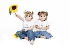 Kleine Mädchen und Sonnenblumen lizenzfreie stockbilder