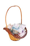 Kleine mand die met geld wordt gevuld Stock Afbeelding
