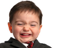 Kleine Mann-Serie: Saures Essiggurke-Lächeln Stockfoto