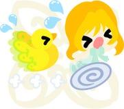 Kleine Mädchen und mysteriöse Vögel Stockbild