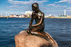 Kleine Meerjungfrau Copenhaguen Dänemark Stockbild
