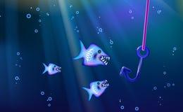 Kleine Mengenfische der Fischerei und des wilden blauen Hintergrundes der Fleischfresser Karikaturmeeresflora und -fauna vom Fahn stock abbildung