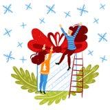 Kleine mensenkarakters die Kerstmisdoos verpakken De Decoratie van het nieuwjaar Fantasie kleine mensen die in reuzewereld vlak w vector illustratie