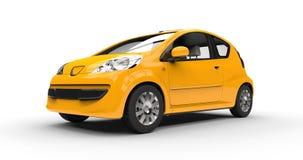 Kleine Moderne Gele Auto Stock Foto