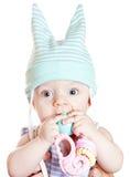 Kleine mooie babyjongen met stuk speelgoed Royalty-vrije Stock Fotografie