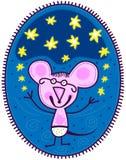 Kleine muis en gele sterren Royalty-vrije Stock Foto's
