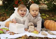 Kleine nette Kinder, die mit Kürbis und Spielwaren unter Bäumen herein aufwerfen Stockfotos