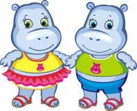 Kleine nijlpaarden Stock Afbeelding