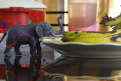Kleine olifant en licht Stock Fotografie