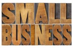 Kleine onderneming in houten type Royalty-vrije Stock Foto's