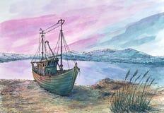 Kleine overzeese baai en vissersboot vector illustratie