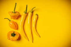Kleine peper op een gele achtergrond Royalty-vrije Stock Afbeeldingen