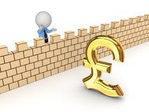 Person 3d und Zeichen von Pfundsterling. Lizenzfreies Stockfoto