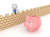 kleine Person 3d hinter der Wand und der piggy Bank. Lizenzfreies Stockfoto