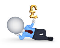 kleine Person 3d mit Zeichen des Pfunds. Stockfoto