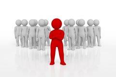 Kleine Person der Führer eines Teams zugeteilt mit roter Farbe Wiedergabe 3d Lokalisierter weißer Hintergrund stock abbildung