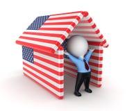 Kleine Person unter amerikanischen Flaggen. lizenzfreie abbildung