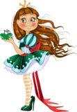 Kleine Prinzessin im grünen Kleid mit Frosch Stockfotografie