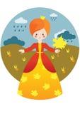 Kleine Prinzessin mit Ahornblatt Stockfotografie