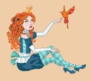 Kleine Prinzessin mit einem Vogel Stockbild