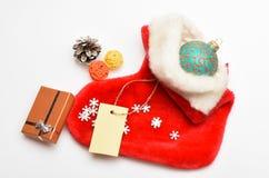 Kleine punten die stuffers of vullers opslaan weinig Kerstmisgiften Vul sok met giften of stelt voor Inhoud van Kerstmis royalty-vrije stock afbeelding