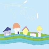 Kleine reizende Häuser der Karikatur Lizenzfreies Stockfoto