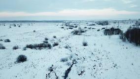 Kleine rivier Luchtmeningslandschap stock videobeelden
