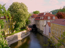 Kleine rivier in Praag Royalty-vrije Stock Afbeelding