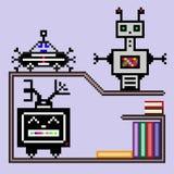 Kleine robots op een plank met boeken Royalty-vrije Stock Afbeeldingen