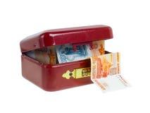Kleine rode kassa. Geïsoleerdd op wit. Royalty-vrije Stock Afbeeldingen