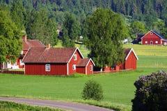 Kleine rode landbouwbedrijven in groen landschap stock foto's