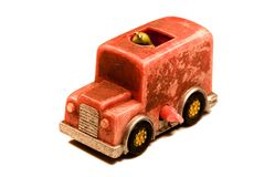 Kleine rode stuk speelgoed auto van mijn kinderjaren Stock Afbeelding