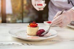 Kleine ronde cake met bessen Stock Afbeeldingen