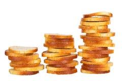 Kleine ronde mini bakt broodjes op een witte achtergrond royalty-vrije stock foto