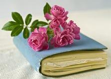 Kleine Rosen auf einem Tagebuch Stockfotos