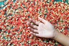 Kleine rote Blume, die auf einen grünen Stock und schönen Damen fällt lizenzfreies stockfoto