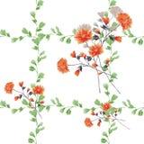 Kleine rote Blumen des nahtlosen Musters und Blumensträuße und grüne Niederlassungen auf einem weißen Hintergrund watercolor Stockfotografie