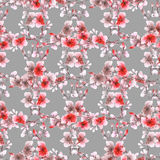 Kleine rote Blumen und Niederlassungen des nahtlosen Musters auf dem grauen Hintergrund Ausführliche vektorzeichnung watercolor Stockfotografie