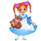 Kleine Rothaarige, die Mädchen mit zwei Zöpfe flocht, hält Spielzeugteddybären lokalisiert auf weißem Hintergrund Vektorkarikatur Lizenzfreies Stockfoto