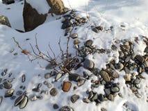 Kleine rotsen en sneeuw stock foto's