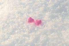 Kleine roze glanzende harten Stock Foto