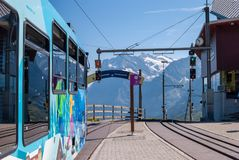The Kleine Scheidegg cogwheel train station is located at the top of the Kleine Scheidegg pass in the Bernese Oberland. Region of Switzerland at an altitude of royalty free stock image