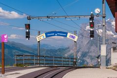 The Kleine Scheidegg cogwheel train station is located at the top of the Kleine Scheidegg pass in the Bernese Oberland. Region of Switzerland at an altitude of royalty free stock photo