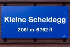 Kleine Scheidegg nameplate Stock Image