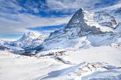 Kleine Scheidegg under Eiger and Jungfrau peak, Grindelwald, Switzerland Stock Image