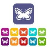 Kleine Schmetterlingsikonen eingestellt Lizenzfreie Stockbilder