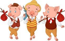 Kleine Schweine der Karikatur drei Lizenzfreie Stockbilder