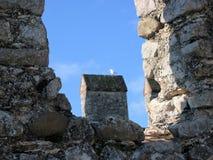Kleine Seemöwe eines Teils der alten Grenzen von der Stadt von Sirmione auf dem See von Garda in Italien stockfotos