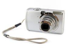 Kleine silberne Fotokamera Stockfoto