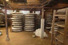 Kleine silk Fabrik in Vietnam Stockbilder